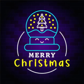 Iluminação de néon de feliz natal com ícone premium de natal
