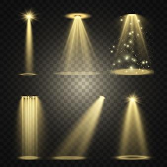 Iluminação de palco, uma coleção de efeitos transparentes. iluminação brilhante com holofotes. ilustração.