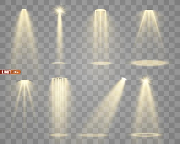 Iluminação de palco, uma coleção de efeitos transparentes. iluminação brilhante com holofotes.