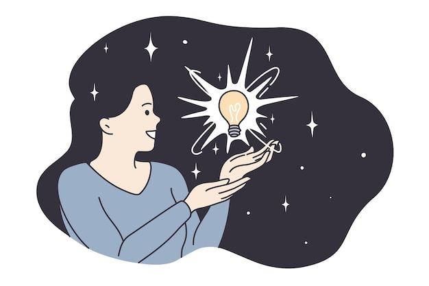 Iluminação, harmonia, tendo o conceito de grande ideia. jovem sorridente personagem de desenho animado tendo uma lâmpada em um cabelo morena voando, sentindo-se positiva e animada.