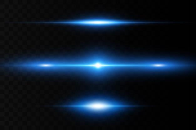 Iluminação horizontal. feixes de laser horizontais, feixes de luz. listras brilhantes sobre um fundo escuro.