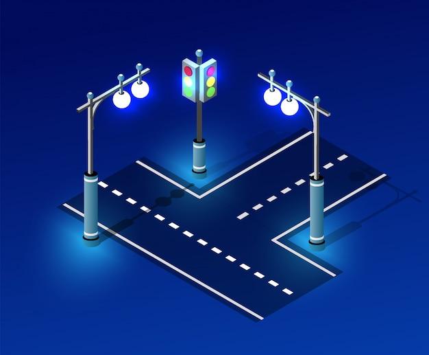 Iluminação isométrica de luz noturna
