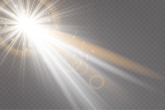 Iluminação leve, efeito transparente. raio de sol brilhante.