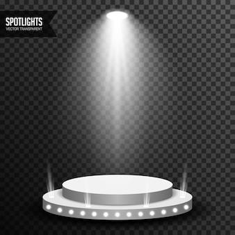 Iluminação pontual com o vector pódio redondo transparente