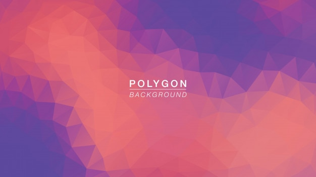 Iluminação roxa alaranjada do polígono