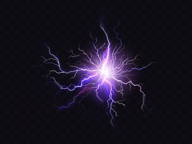 Iluminação roxa de brilho isolada no fundo escuro. descarga elétrica violeta iluminada