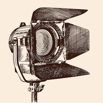 Iluminador de luz constante com cortinas e lente de fresnel em um suporte para a filmagem de filmes