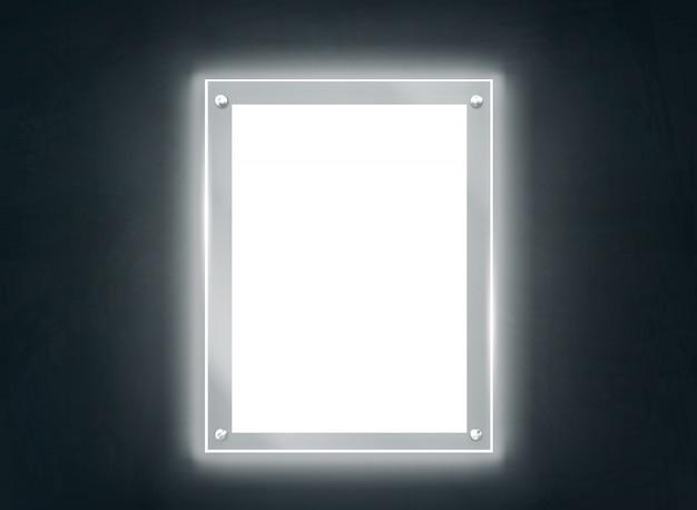 Iluminando o vetor realista do quadro de placa de metacrilato