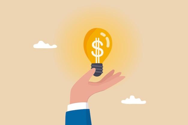 Ilumine a ideia de dinheiro, investimento e economia com alto lucro, ideia de negócio para ganhar dinheiro ou lucro, conceito de inovação ou criatividade, mão de empresário segura ideia de lâmpada dólar dinheiro brilhantemente iluminada.