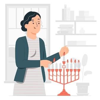 Ilumine a ilustração do conceito de hanukkah menorah