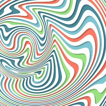 Ilusão de óptica. abstrato com padrão ondulado. redemoinho listrado colorido