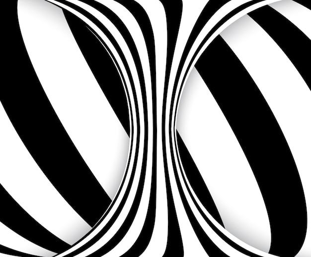 Ilusão de ótica de linhas preto e branco. espiral listrada abstrata