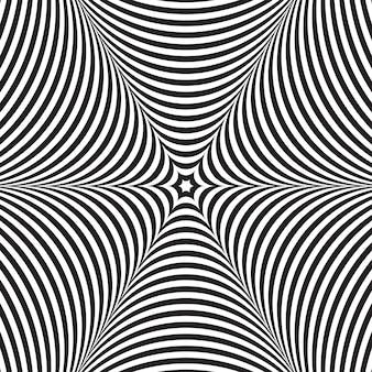 Ilusão de ótica de vetor abstrato preto e branco