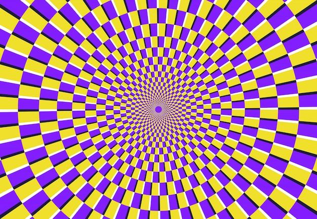 Ilusão de ótica em espiral. padrão psicodélico mágico, ilusões de redemoinho e ilustração em vetor abstrato hipnótico