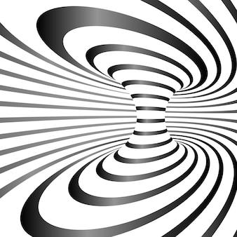 Ilusão de ótica listrada em preto e branco
