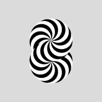 Ilusão de ótica número 8 em preto e branco. ilustração vetorial.