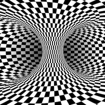 Ilusão de ótica quadrada em preto e branco