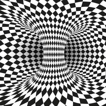 Ilusão óptica quadrada geométrica em preto e branco
