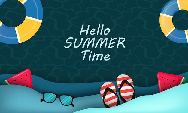Ilustação de verão olá realista