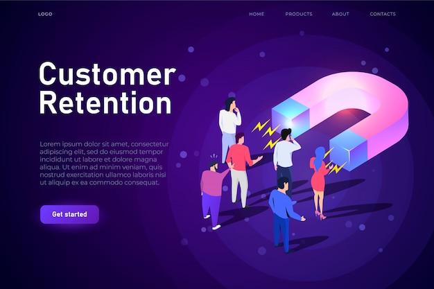 Ilustação isométrica de retenção de clientes, modelo de aterrissagem de páginas da web. grande ímã atrai clientes, compradores. design responsivo para a esfera do comércio eletrônico.