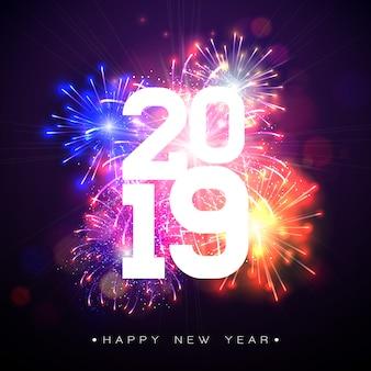 Ilustração 2019 do ano novo feliz com fogos-de-artifício e número no fundo escuro.