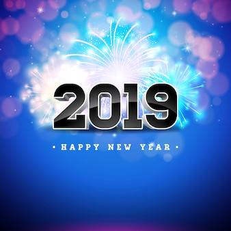 Ilustração 2019 do ano novo feliz com número 3d no fundo azul brilhante.