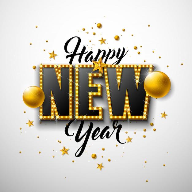Ilustração 2020 feliz ano novo com letras de tipografia 3d e bola de natal em fundo branco.