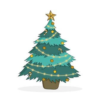 Ilustração 2d da árvore de natal