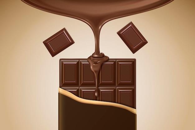 Ilustração 3d barra de chocolate com molho pingando de cima para uso de design