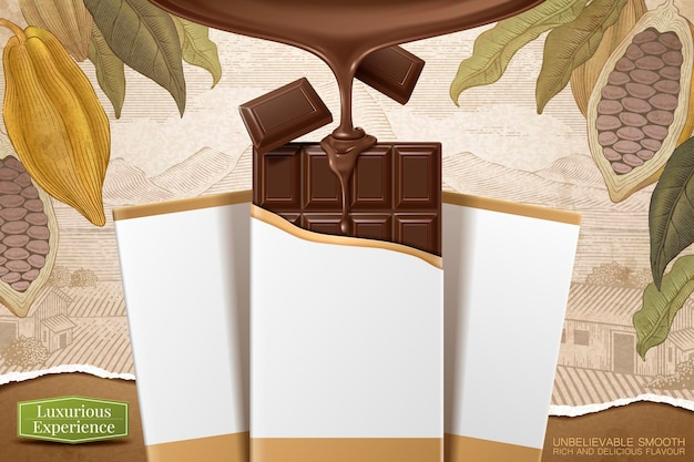Ilustração 3d barra de chocolate com pacote em branco sobre fundo de cacau com gravura retrô