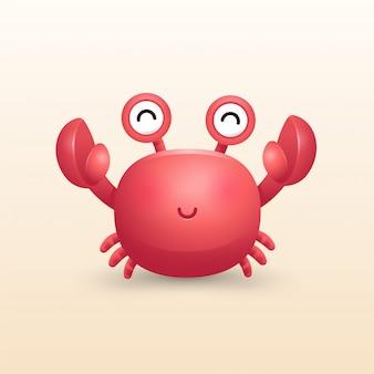 Ilustração 3d caranguejo fofo