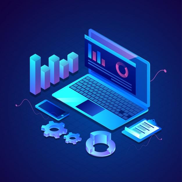 Ilustração 3d da apresentação de infográfico on-line no laptop com smartphone, área de transferência e roda dentada em azul