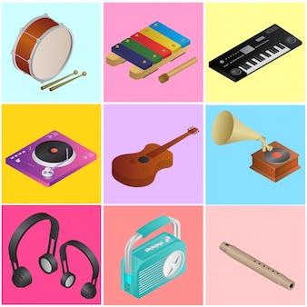 Ilustração 3d da coleção de instrumentos musicais