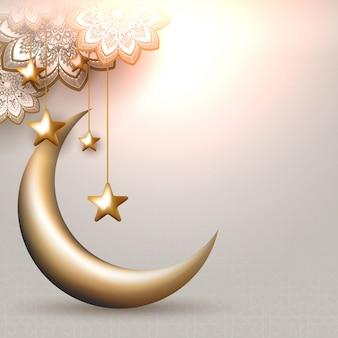 Ilustração 3d da lua crescente com estrelas douradas de suspensão