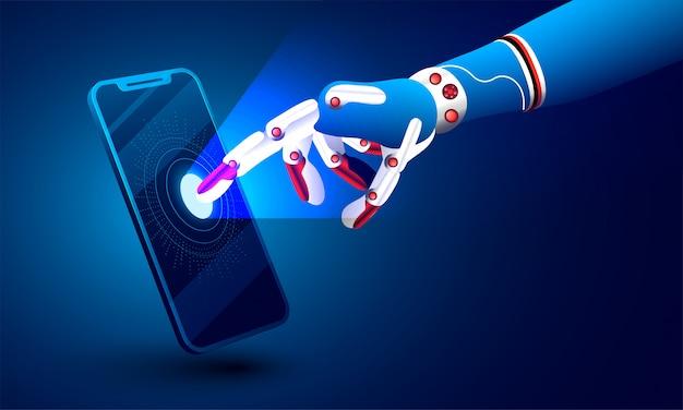 Ilustração 3d da mão robótico que clica no smartphone.