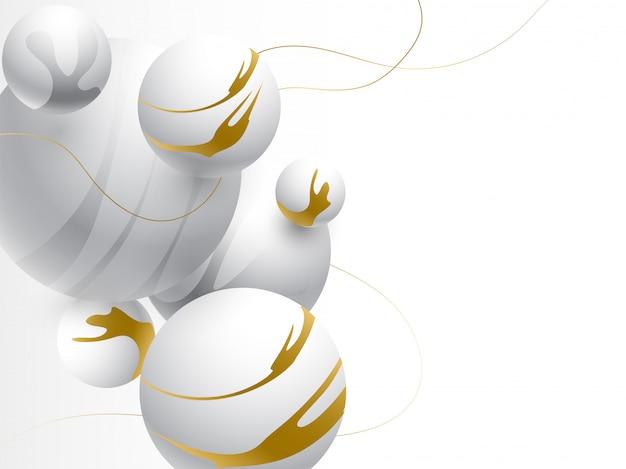 Ilustração 3d de bolas ou esfera cinzenta abstrata no fundo branco.