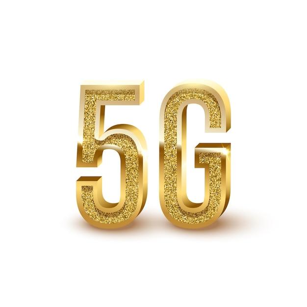 Ilustração 3d de conexão 5g com a internet sinais dourados cintilantes e cintilantes sobre fundo branco