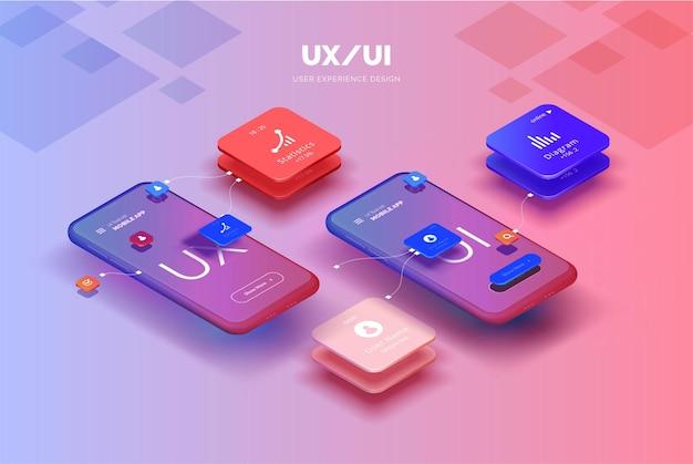 Ilustração 3d de design de aplicativo móvel