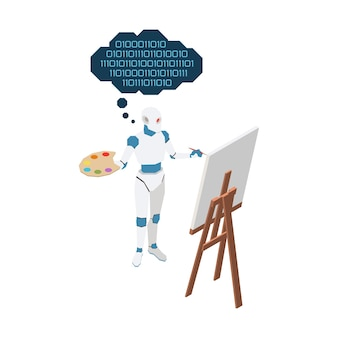 Ilustração 3d de inteligência artificial com imagem de pintura de robô isométrica