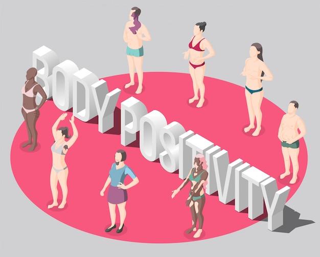 Ilustração 3d de positividade do corpo