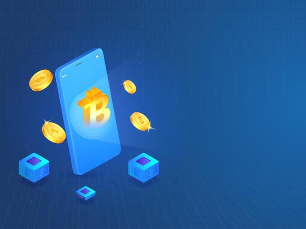 Ilustração 3d de smartphone com moedas criptográficas de ouro no circuito azul e fundo binário.