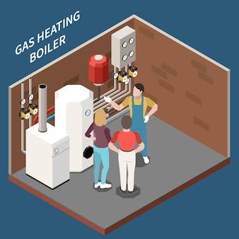 Ilustração 3d de três caracteres isométricos em sala de aquecimento com caldeiras a gás