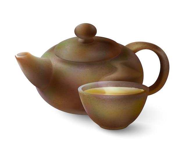 Ilustração 3d de um chá em mercadorias marrons. bule de argila e xícara de chá quente em um branco