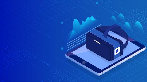 Ilustração 3d de vidros de vr com a tela do smartphone no fundo azul do circuito digital.