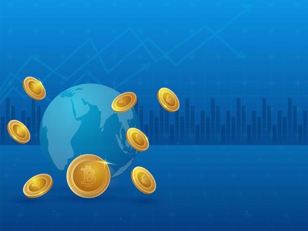 Ilustração 3d do globo terrestre com moedas de ouro sobre fundo azul de estatísticas para o conceito de criptomoeda.