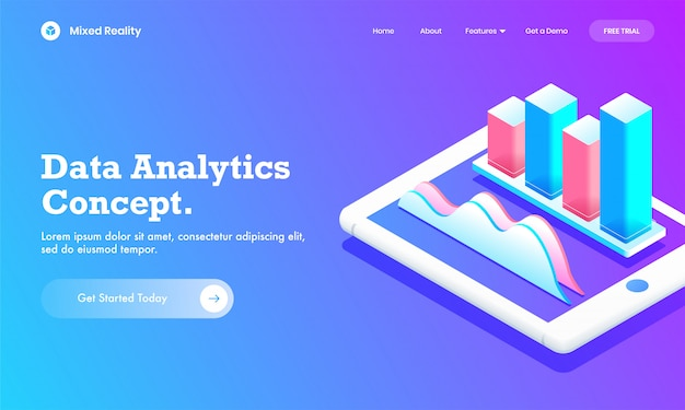 Ilustração 3d do gráfico de barras infográfico com gráfico do gráfico de análise na tela do smartphone para o site do conceito de análise de dados ou o design da página de destino.