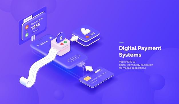 Ilustração 3d do sistema de pagamento digital