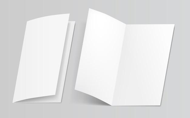 Ilustração 3d em branco, pasta branca, folhas de papel