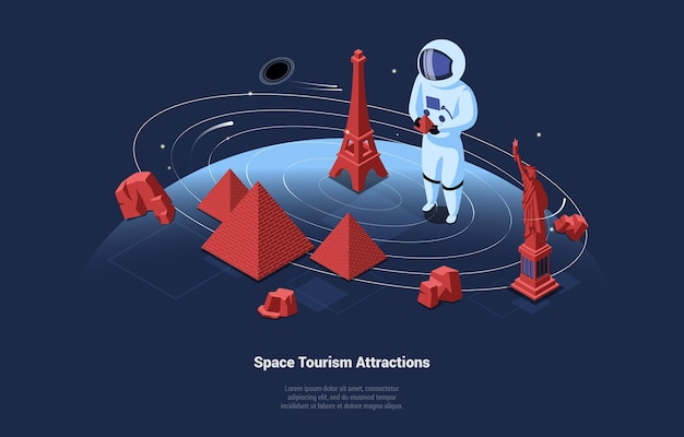 Ilustração 3d em estilo cartoon de atrações de turismo espacial
