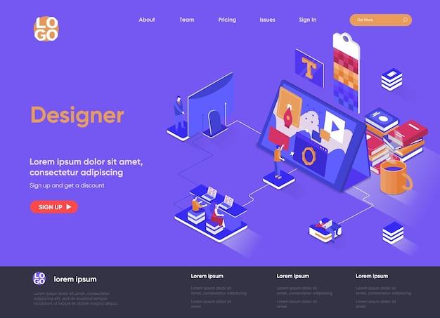 Ilustração 3d isométrica da página de destino do designer com personagens de pessoas